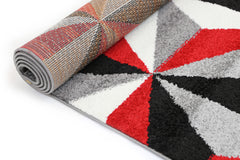 Pablo Cubism Triangles Geometric Rug - Red Black