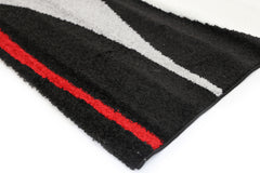 Pablo Swirls Waves Rug - Red Black