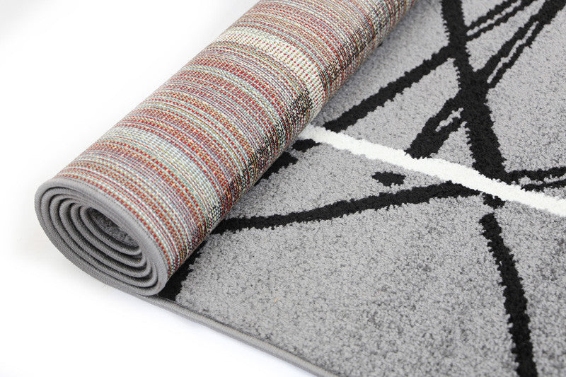 Pablo Stripes Lines Abstract Rug - Grey Black