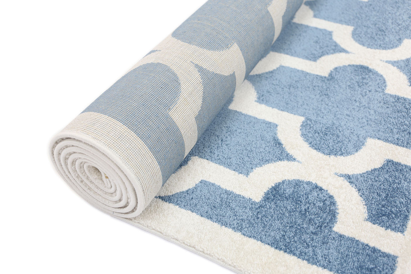 Piccolo Lattice Pattern Blue White Rug
