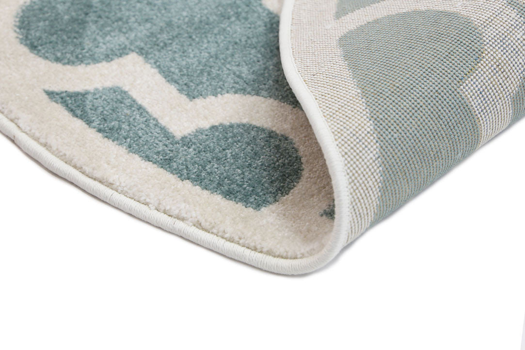Piccolo Lattice Pattern Light Blue White Rug