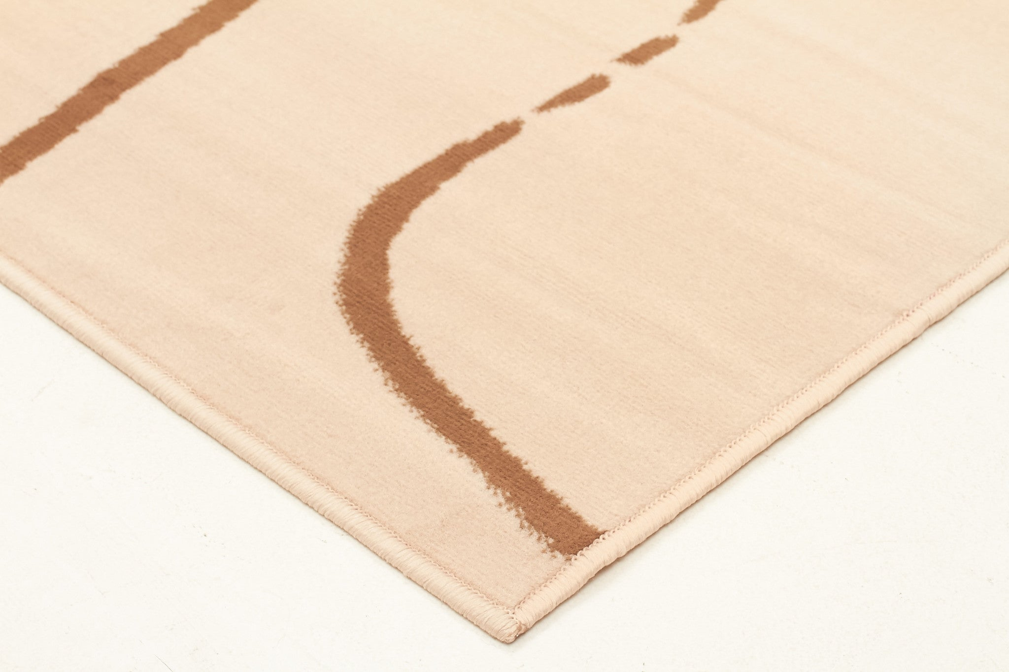 Abstract Curves Pattern Rug Beige Brown