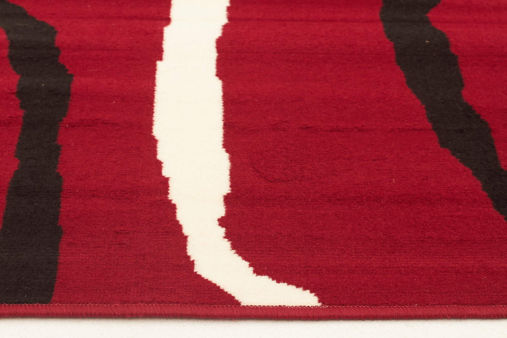 Silver BCF 1153 R55 Rug - Red Black White