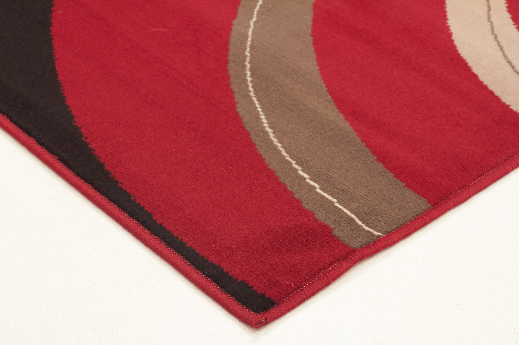 Silver BCF 1246 W33 Rug - Red Black White