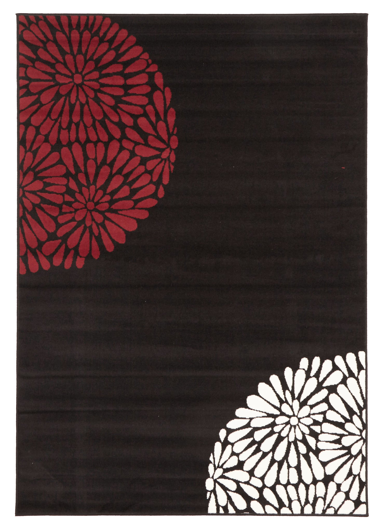 Burst Pattern Rug Red Black White