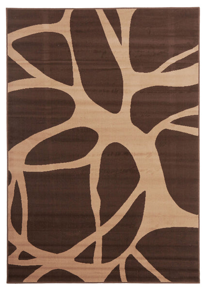 Abstract Modern Rug Brown Beige
