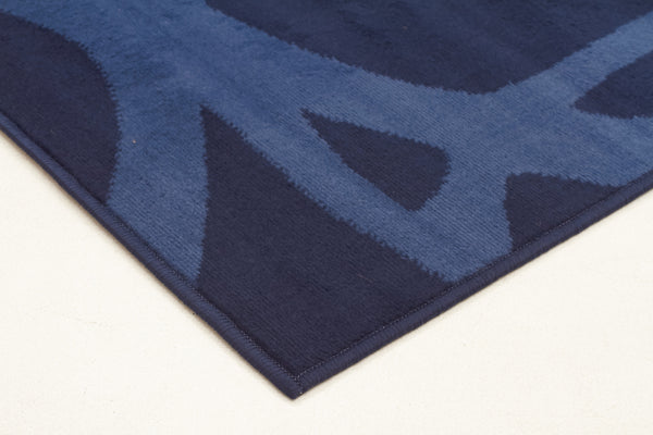 Abstract Modern Rug Blue