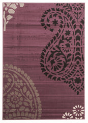 Funky Paisley Design Rug Purple