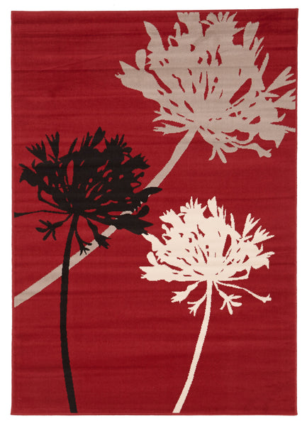 Agapanthus Bud Modern Rug Brown Red Black