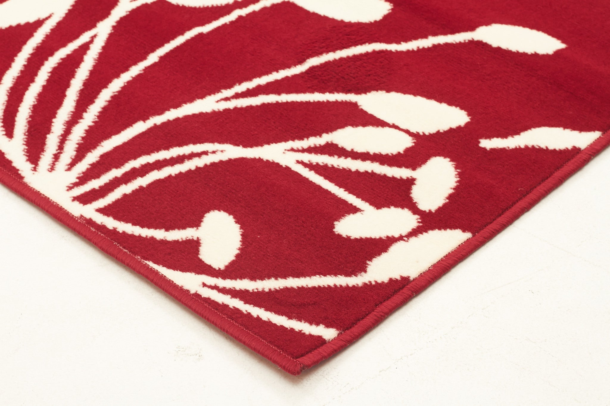 Modern Flower Outline Rug Red