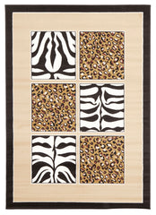 African Print Black And Off White Rug