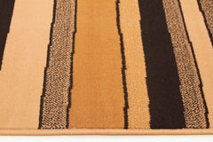 Modern Multi Stripes Rug Beige Black