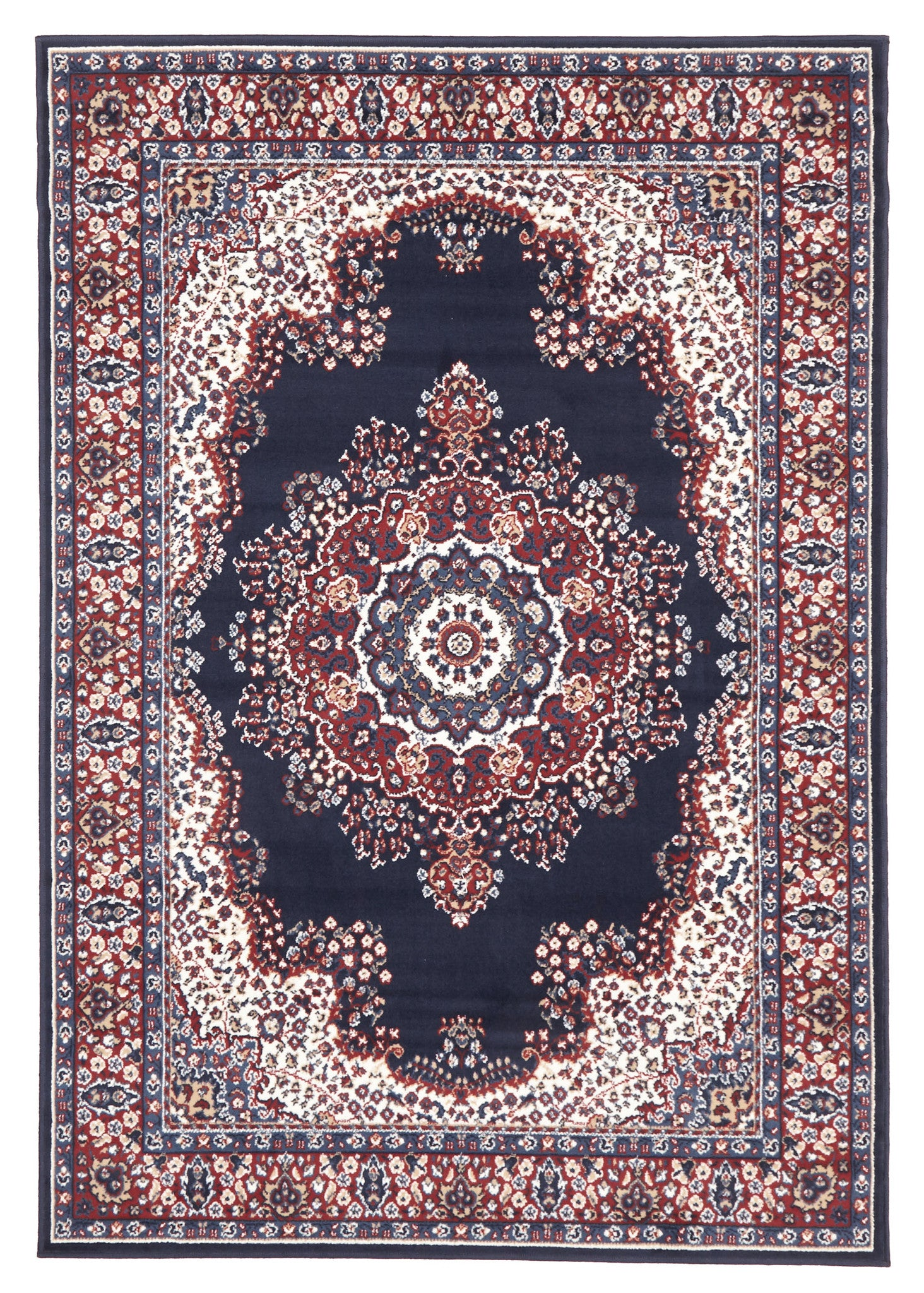 Traditional Pattern Medallion Rug Navy Red
