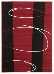 Retro Pattern Rug Red Black Off White