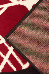 Cool Modern Rug Black Red Off White