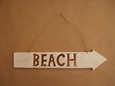 Beach Arrow White Sign