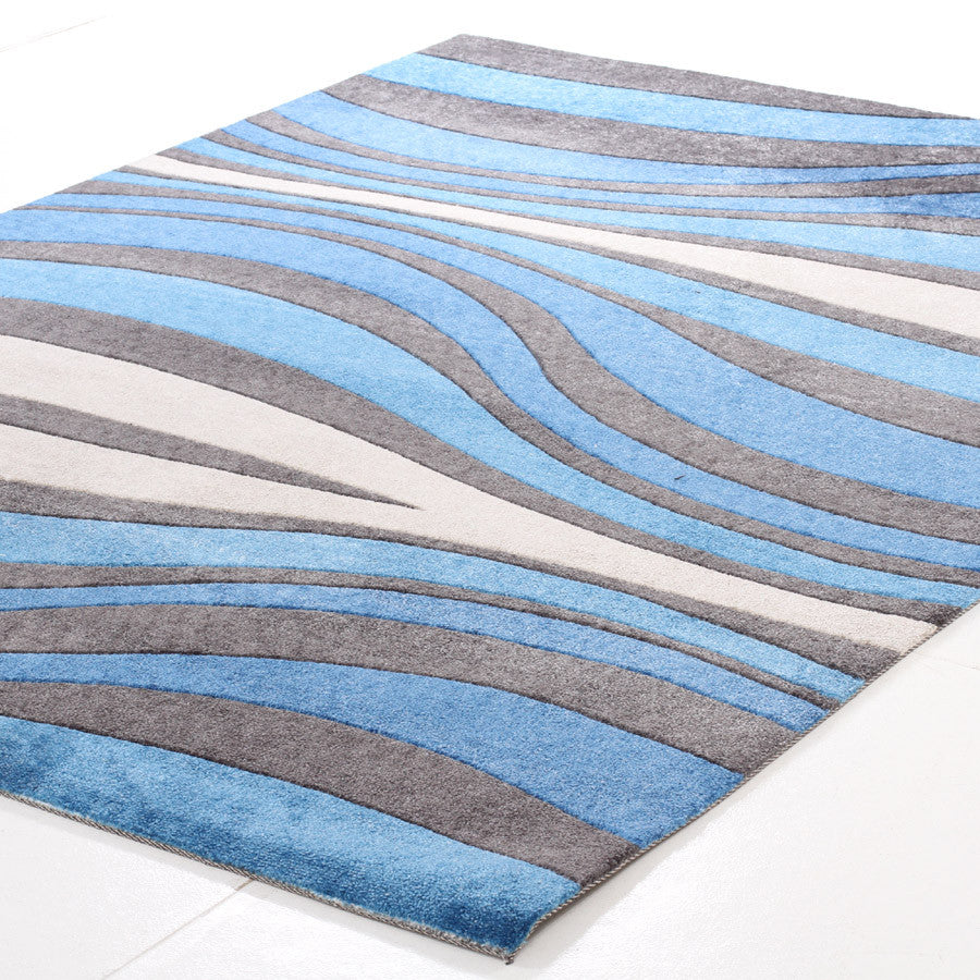 Retro Waves Rug Blue Charcoal