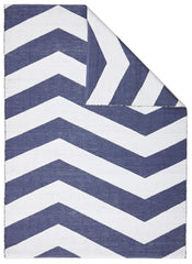 Coastal 1 Indoor Outdoor Rug - Chevron Navy White