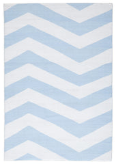 Coastal 1 Indoor Outdoor Rug - Chevron Sky Blue White