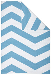 Coastal 1 Indoor Outdoor Rug - Chevron Turquoise White