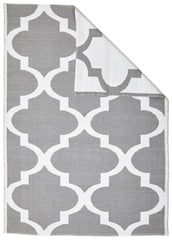 Coastal Indoor Out door Rug Trellis Grey White