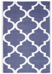 Coastal Indoor Out door Rug Trellis Navy White