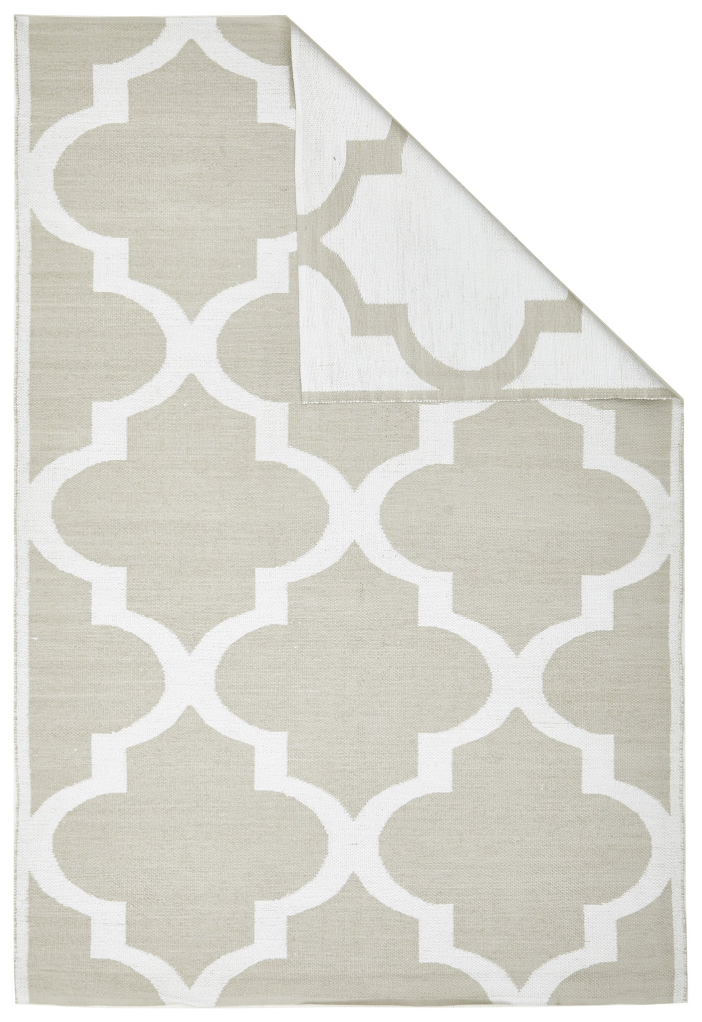 Coastal Indoor Out door Rug Trellis Taupe White