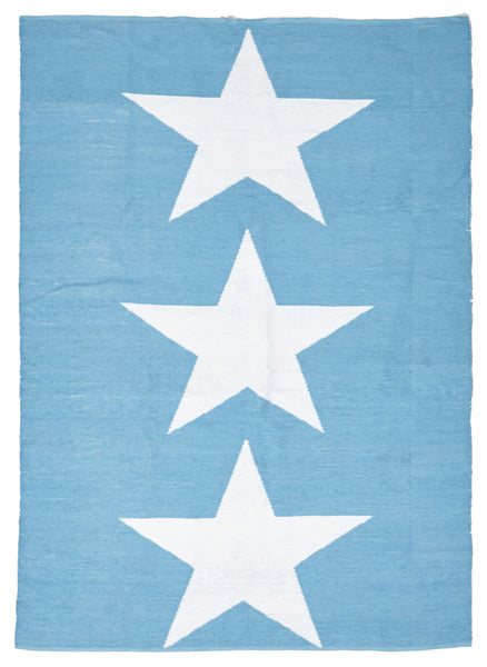 Coastal Indoor Out door Rug Star Turquoise White