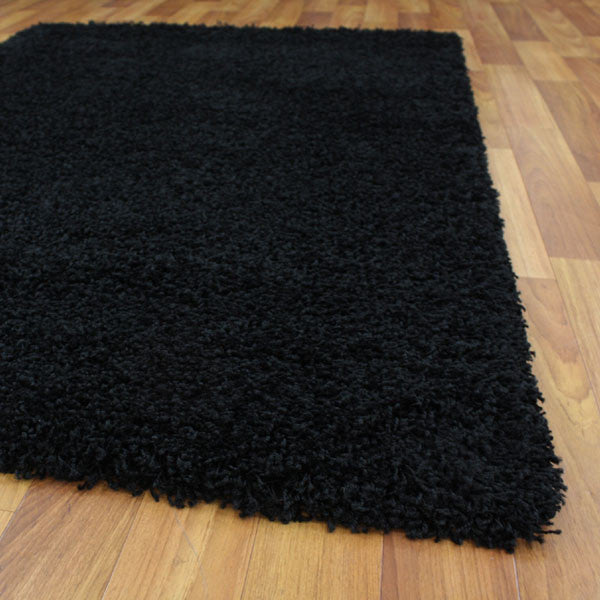 Cosmo Plain Shaggy Rug - Black