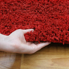 Soft Dense Plain Red Shag Rug