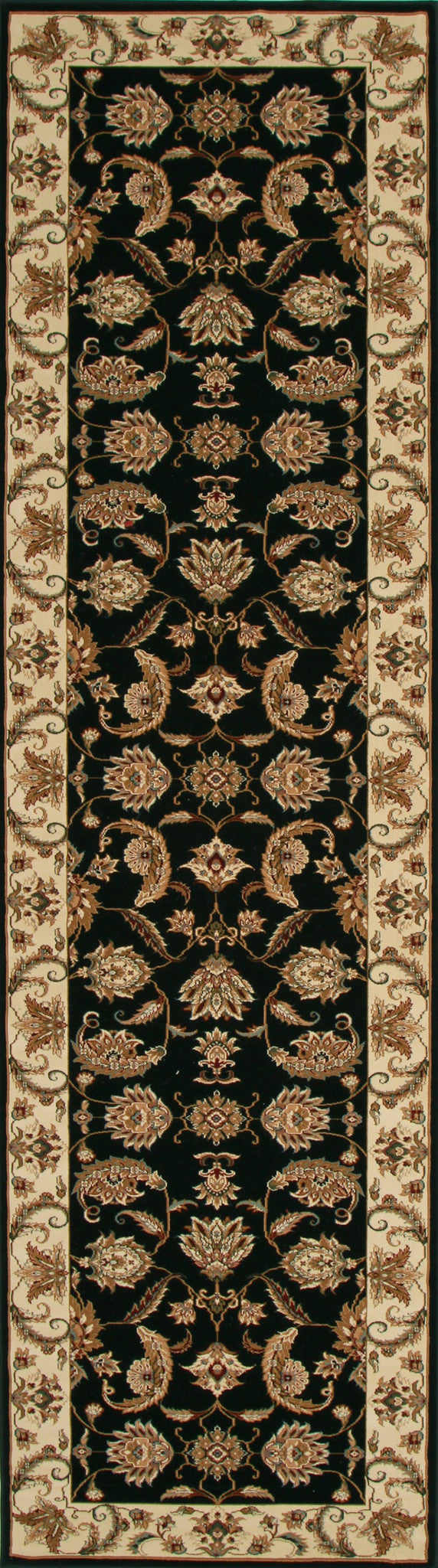 Stunning Formal Floral Design Rug Black