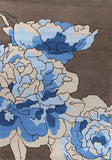 Blossoms Taupe Blue Rug
