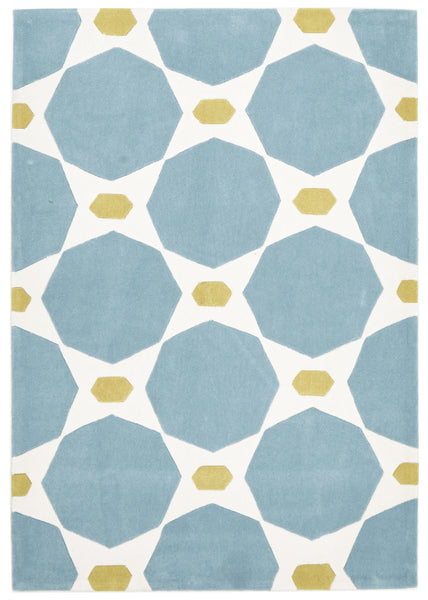 Blue and Yellow Hive Rug