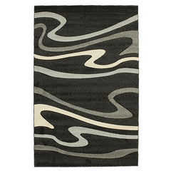 Modern Swirls Rug Black