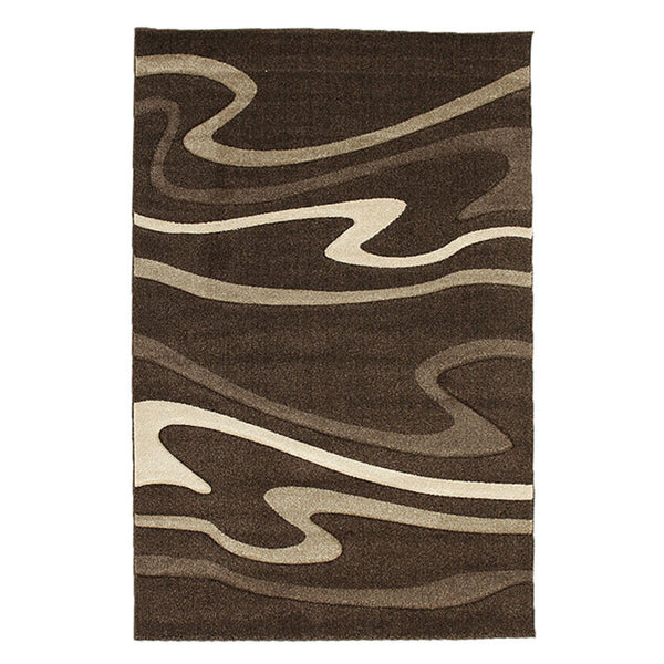 Modern Swirls Rug Dark Brown