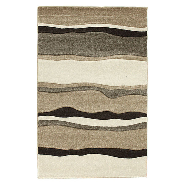 Modern Thick Wave Rug Beige Brown