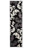 Damask Leaf Design Rug Black Grey