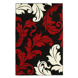 Damask Leaf Design Rug Red Black