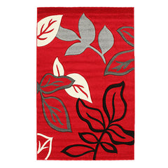 Stunning Thick Leaf Rug Red