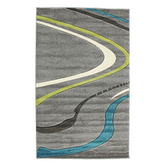 Ultra Modern Swirl Rug Grey Blue Green