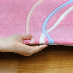 Kidding Around Hearts and Swirls Kid's Rug - Pink