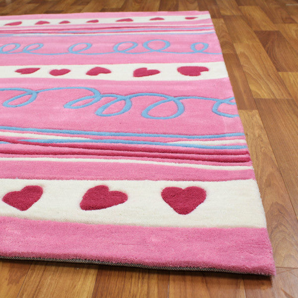 Hearts And Stripes Pink Children's Rug