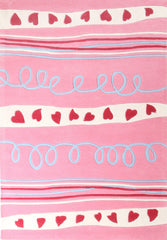 Kidding Around Hearts and Stripes Kid's Rug - Pink