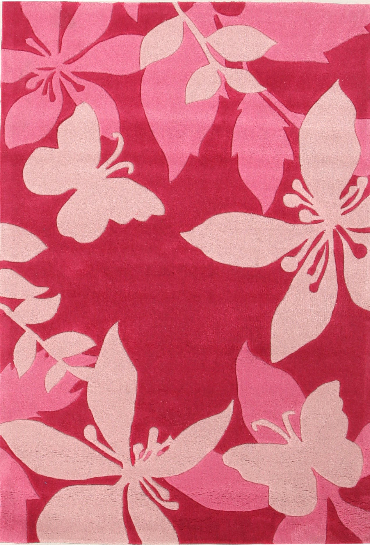 Cute Pink Flower and Butterfly Design Rug