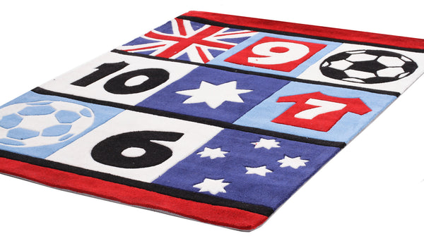 Kidding Around Soccer and Southern Cross Rug - Blue
