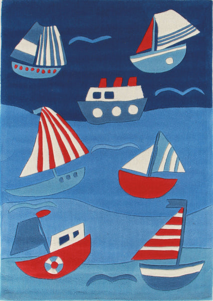 Kidding Around Ships and Boats Rug - Blue