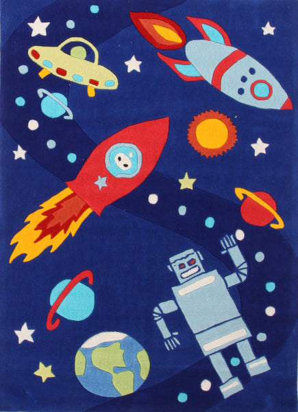 Kidding Around Space ships and Robots Rug - Blue