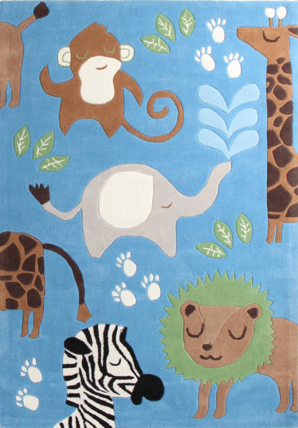 Kidding Around Jungle Animals Rug - Blue