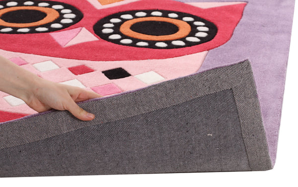 Kidding Around Owl Kids Rug - Purple