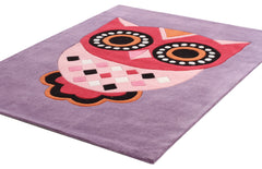 Gorgeous Purple Owl Kids Rug